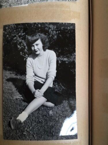 My aunt in pearls in bobby socks.